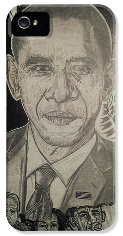 Barack Obama IPhone 5 Case featuring the painting Change Yes We Can by Demetrius Washington