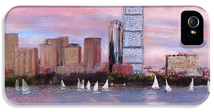 Boston IPhone 5 Case featuring the painting Charles River Boston by Jack Skinner