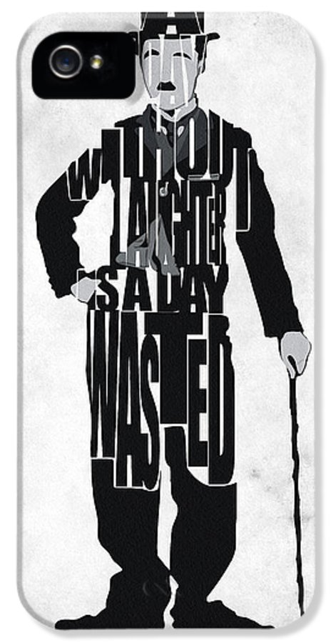 Charlie Chaplin IPhone 5 Case featuring the painting Charlie Chaplin Typography Poster by Ayse Deniz