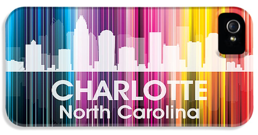 City Silhouette IPhone 5 Case featuring the mixed media Charlotte Nc 2 by Angelina Vick