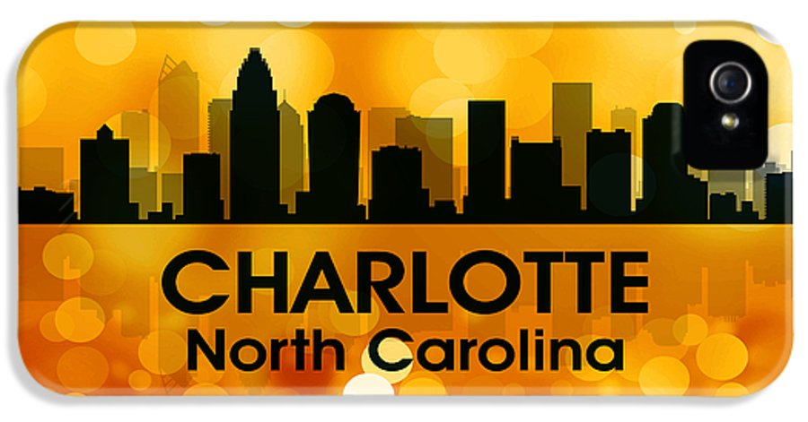 City Silhouette IPhone 5 Case featuring the digital art Charlotte Nc 3 by Angelina Vick