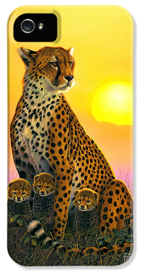 Cheetah IPhone 5 Case featuring the photograph Cheetah And Cubs by MGL Studio - Chris Hiett