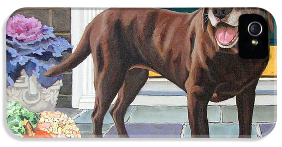 Dog IPhone 5 Case featuring the painting Chelsea At The Door by Sandra Chase