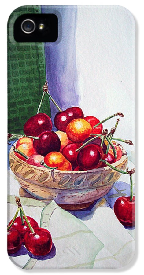 Berry IPhone 5 Case featuring the painting Cherries by Irina Sztukowski
