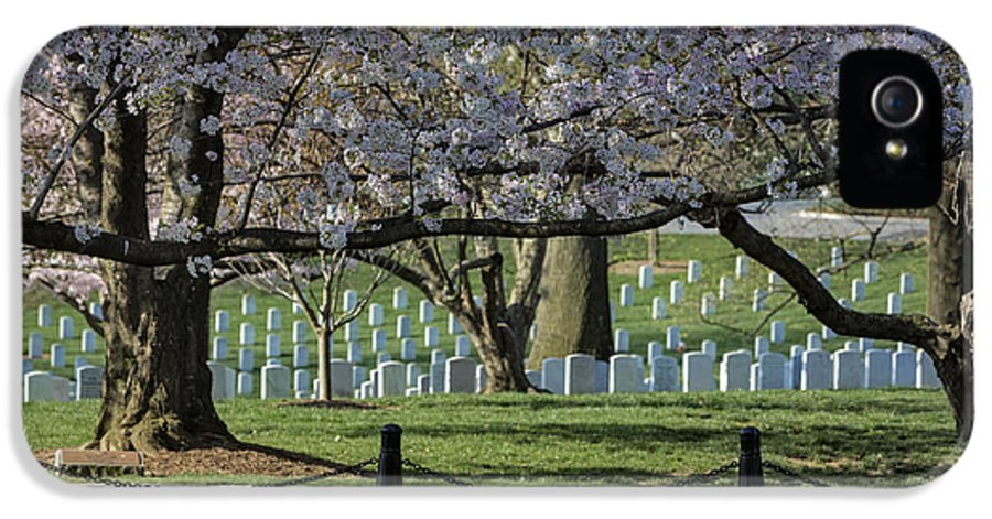 America IPhone 5 Case featuring the photograph Cherry Blossoms Adorn Arlington National Cemetery by Susan Candelario