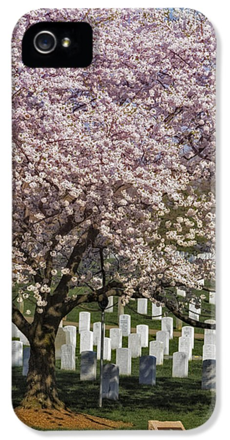America IPhone 5 Case featuring the photograph Cherry Blossoms Grace Arlington National Cemetery by Susan Candelario