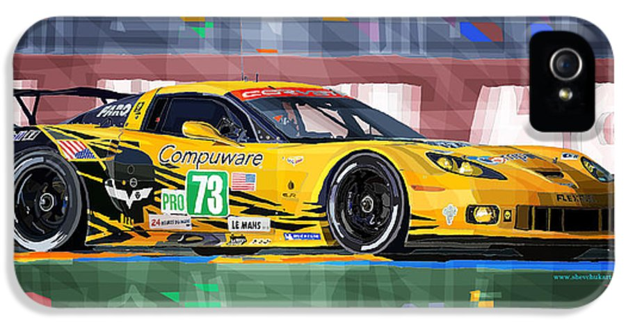 Automotive IPhone 5 Case featuring the digital art Chevrolet Corvette C6r Gte Pro Le Mans 24 2012 by Yuriy Shevchuk