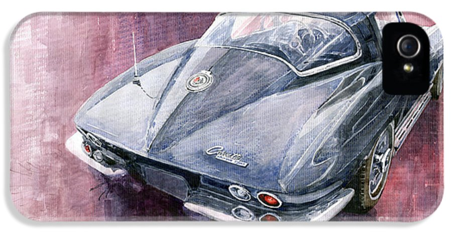 Watercolor IPhone 5 Case featuring the painting Chevrolet Corvette Sting Ray 1965 by Yuriy Shevchuk