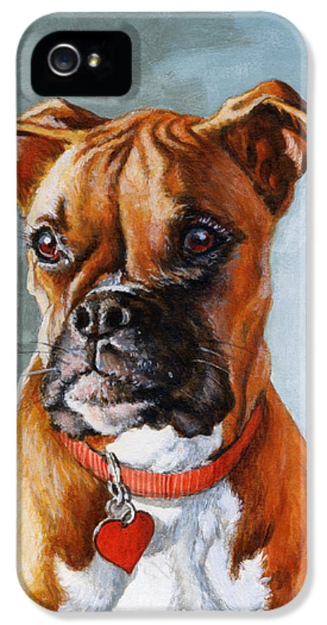 Boxer IPhone 5 Case featuring the painting Cheyenne by Richard De Wolfe