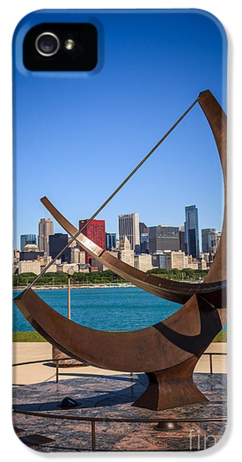 Adler IPhone 5 Case featuring the photograph Chicago Adler Planetarium Sundial And Chicago Skyline by Paul Velgos