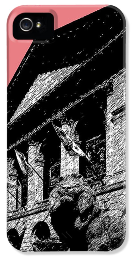 Architecture IPhone 5 Case featuring the digital art Chicago Art Institute Of Chicago - Light Red by DB Artist