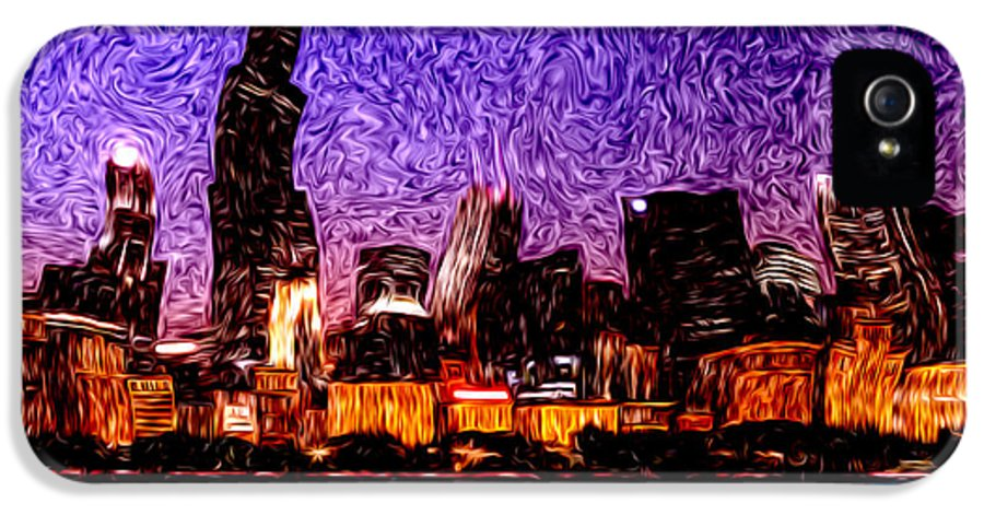 America IPhone 5 Case featuring the photograph Chicago At Night Digital Art by Paul Velgos