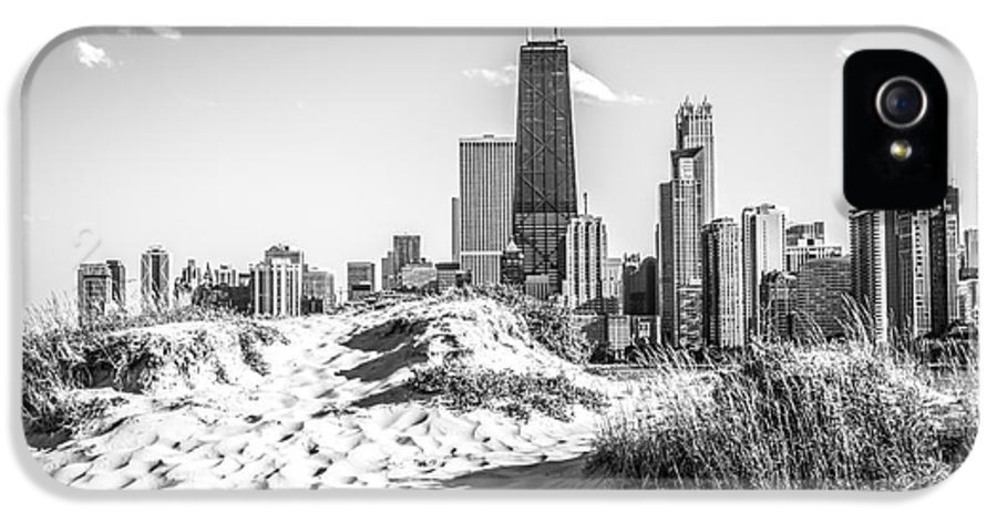 2012 IPhone 5 Case featuring the photograph Chicago Beach And Skyline Black And White Photo by Paul Velgos