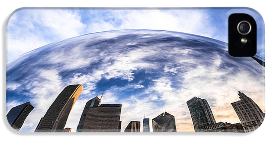 Bean IPhone 5 Case featuring the photograph Chicago Bean Cloud Gate Skyline by Paul Velgos