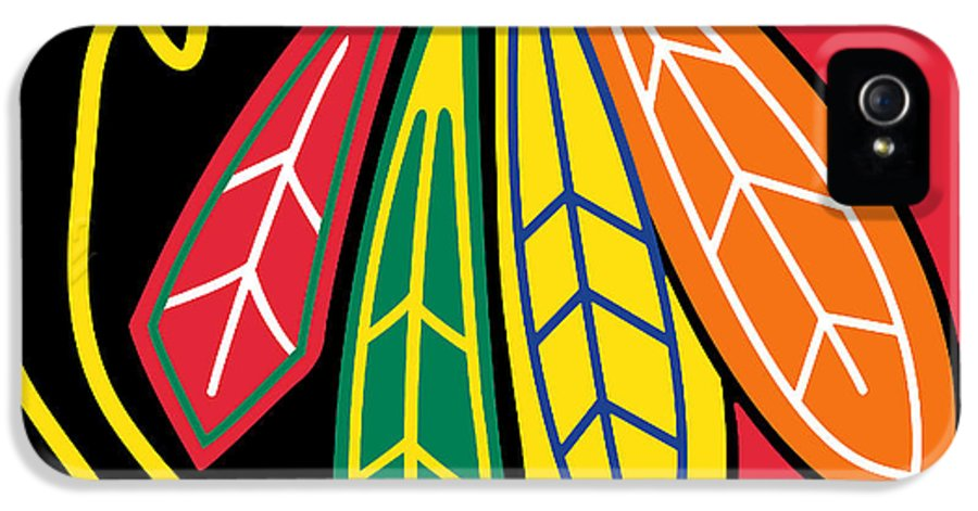 Chicago IPhone 5 Case featuring the painting Chicago Blackhawks by Tony Rubino