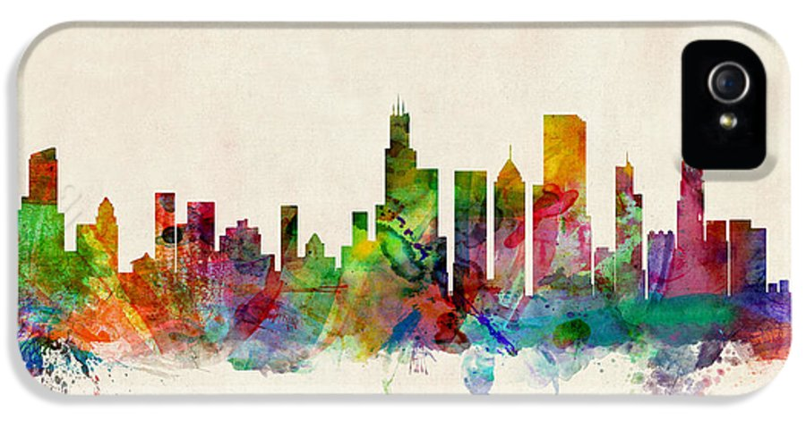 Watercolor Skyline Of Chicago IPhone 5 Case featuring the digital art Chicago City Skyline by Michael Tompsett