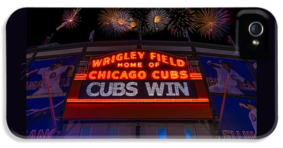 Chicago IPhone 5 Case featuring the photograph Chicago Cubs Win Fireworks Night by Steve Gadomski