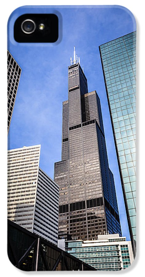 America IPhone 5 Case featuring the photograph Chicago Downtown City Buildings With Willis-sears Tower by Paul Velgos