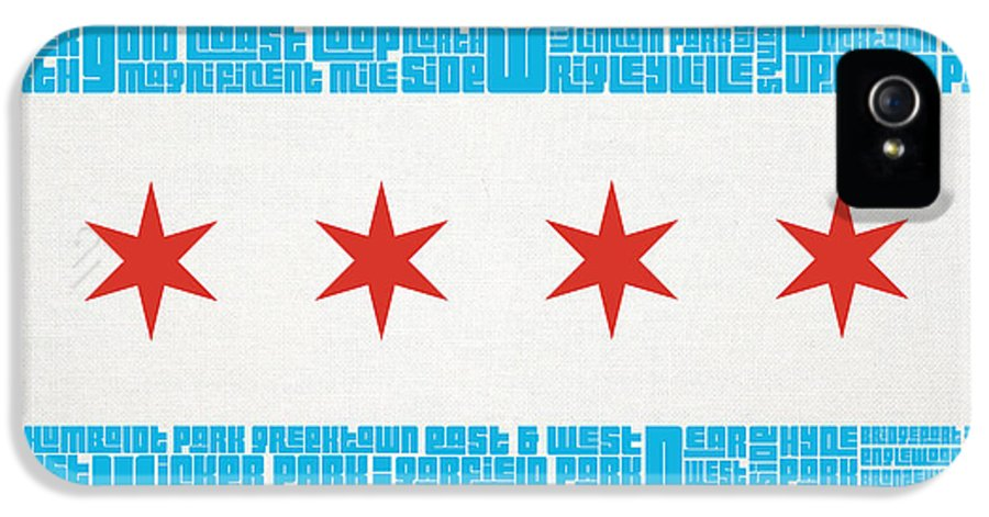 Chicago IPhone 5 Case featuring the mixed media Chicago Flag Neighborhoods by Mike Maher
