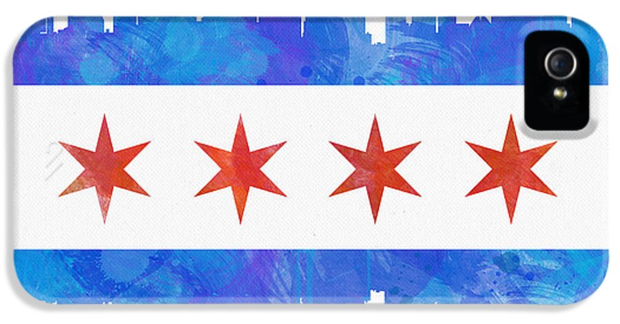 Chicago IPhone 5 Case featuring the painting Chicago Flag Watercolor by Mike Maher
