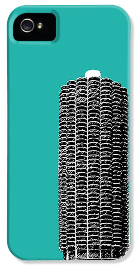 Architecture IPhone 5 Case featuring the digital art Chicago Skyline Marina Towers - Teal by DB Artist