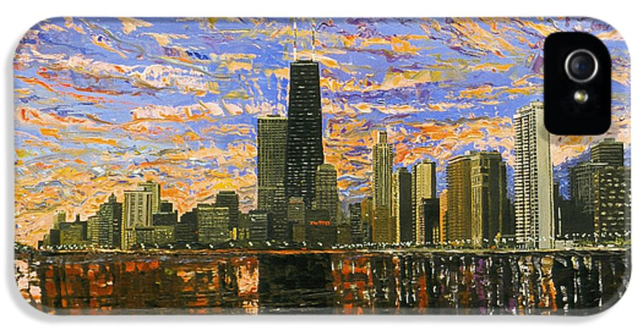 Chicago IPhone 5 Case featuring the painting Chicago by Mike Rabe