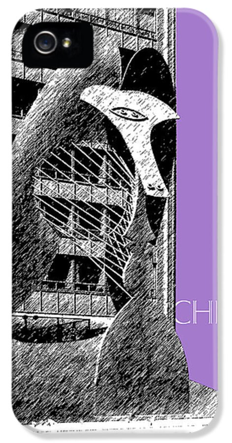 Architecture IPhone 5 Case featuring the digital art Chicago Pablo Picasso - Violet by DB Artist