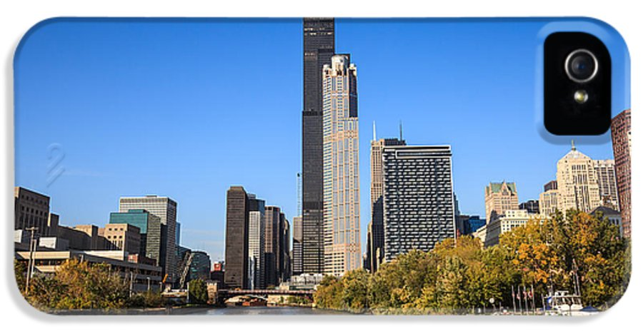 America IPhone 5 Case featuring the photograph Chicago River With Willis-sears Tower by Paul Velgos