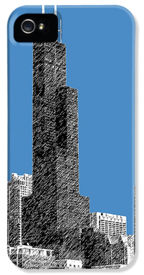 Architecture IPhone 5 Case featuring the digital art Chicago Sears Tower - Slate by DB Artist