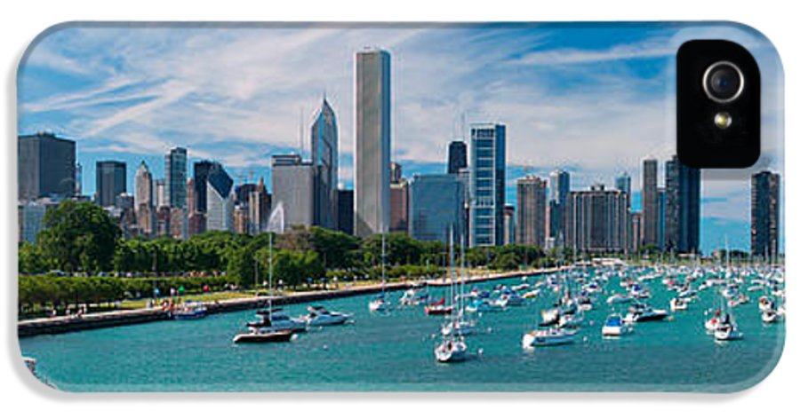 Chicago IPhone 5 Case featuring the photograph Chicago Skyline Daytime Panoramic by Adam Romanowicz