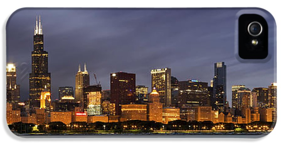 3scape Photos IPhone 5 Case featuring the photograph Chicago Skyline At Night Color Panoramic by Adam Romanowicz