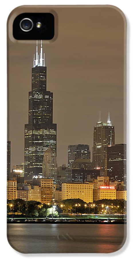 Chicago Skyline IPhone 5 Case featuring the photograph Chicago Skyline At Night by Sebastian Musial