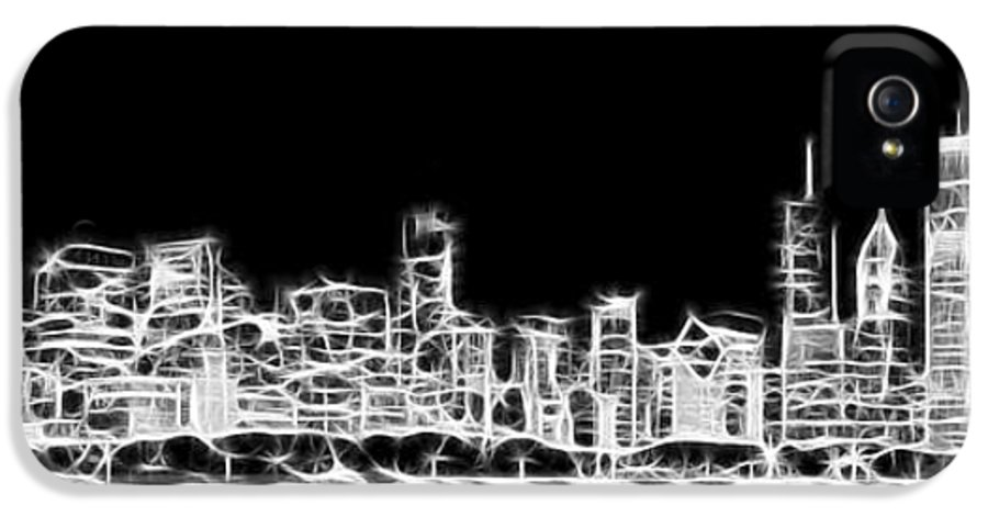 Chicago IPhone 5 Case featuring the photograph Chicago Skyline Fractal Black And White by Adam Romanowicz