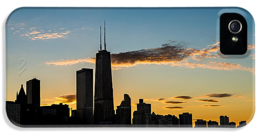 Chicago IPhone 5 Case featuring the photograph Chicago Skyline Silhouette by Steve Gadomski