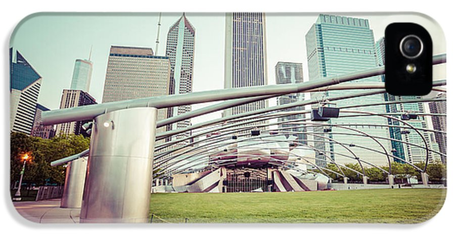 America IPhone 5 Case featuring the photograph Chicago Skyline With Pritzker Pavilion Vintage Picture by Paul Velgos