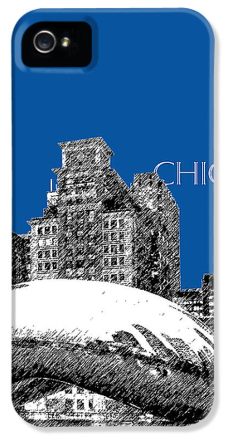 Architecture IPhone 5 Case featuring the digital art Chicago The Bean - Royal Blue by DB Artist