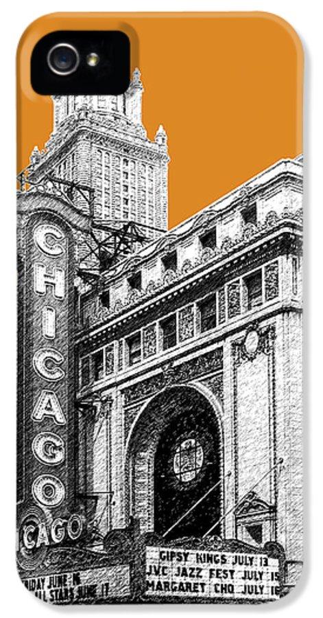 Architecture IPhone 5 Case featuring the digital art Chicago Theater - Dark Orange by DB Artist