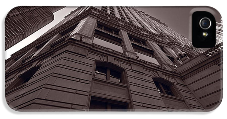Wrigley IPhone 5 Case featuring the photograph Chicago Towers Bw by Steve Gadomski