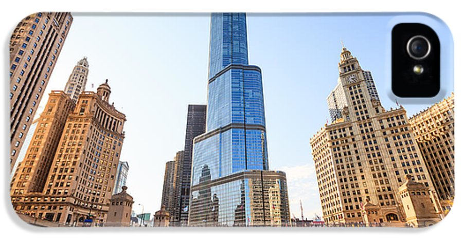 America IPhone 5 Case featuring the photograph Chicago Trump Tower At Michigan Avenue Bridge by Paul Velgos
