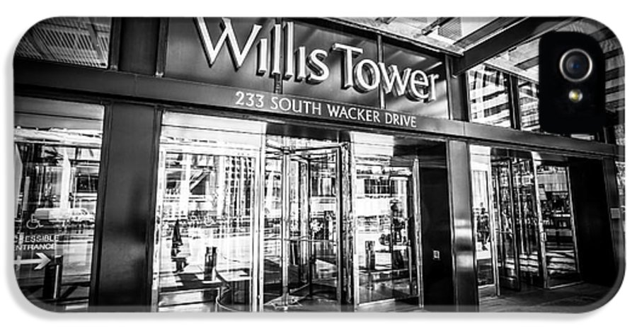America IPhone 5 / 5s Case featuring the photograph Chicago Willis-sears Tower Sign In Black And White by Paul Velgos