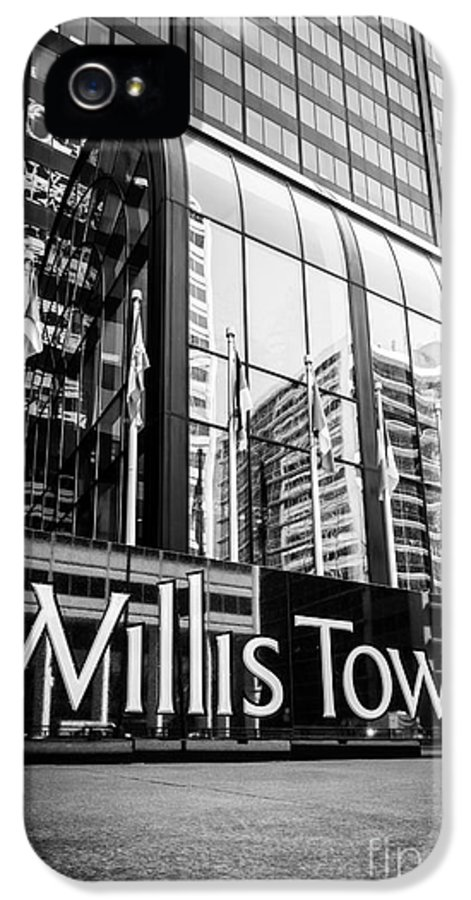America IPhone 5 Case featuring the photograph Chicago Willis Tower Sign In Black And White by Paul Velgos