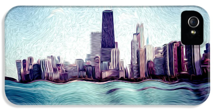 2012 IPhone 5 Case featuring the photograph Chicago Windy City Digital Art Painting by Paul Velgos