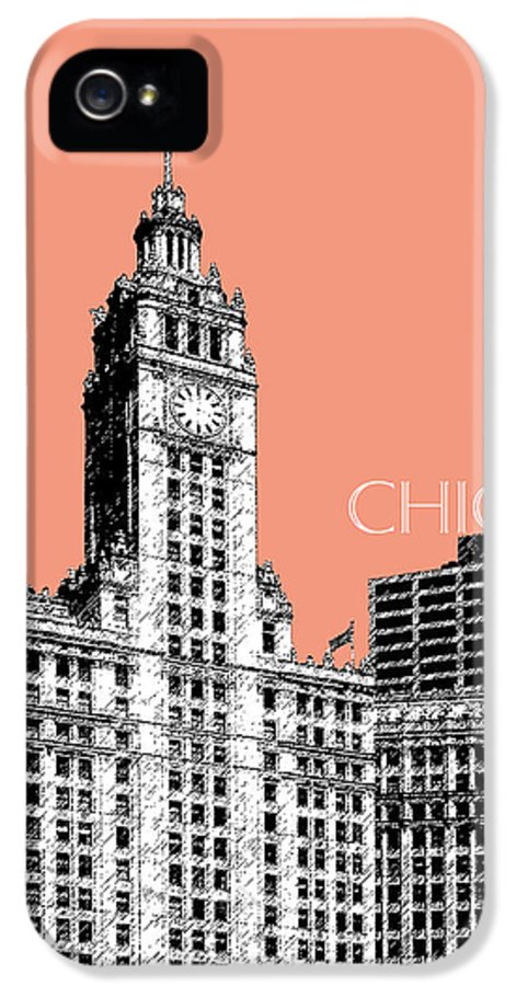 Architecture IPhone 5 Case featuring the digital art Chicago Wrigley Building - Salmon by DB Artist