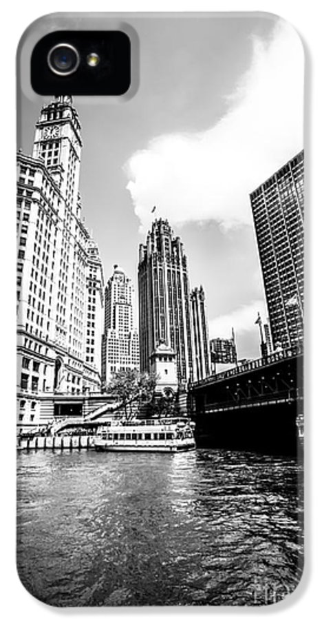 America IPhone 5 Case featuring the photograph Chicago Wrigley Tribune Equitable Buildings Black And White Phot by Paul Velgos