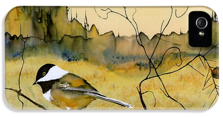Chickadee IPhone 5 Case featuring the tapestry - textile Chickadee In Dancing Pine by Carolyn Doe