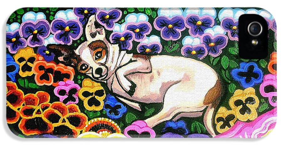 Dog Portrait IPhone 5 Case featuring the painting Chihuahua In Flowers by Genevieve Esson