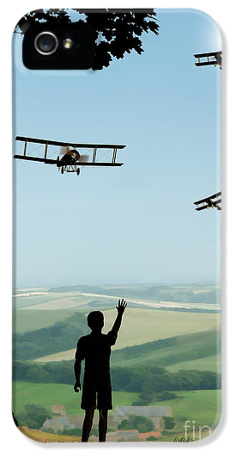 Avro 504k Flypast IPhone 5 Case featuring the painting Childhood Dreams The Flypast by John Edwards