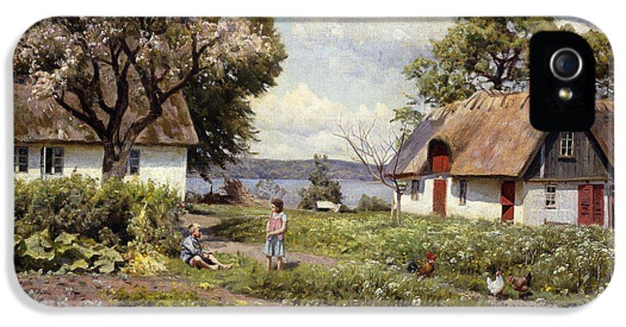 1930s IPhone 5 Case featuring the painting Children In A Farmyard by Peder Monsted