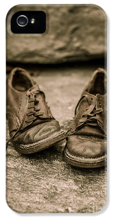 Child IPhone 5 Case featuring the photograph Child's Old Leather Shoes by Edward Fielding