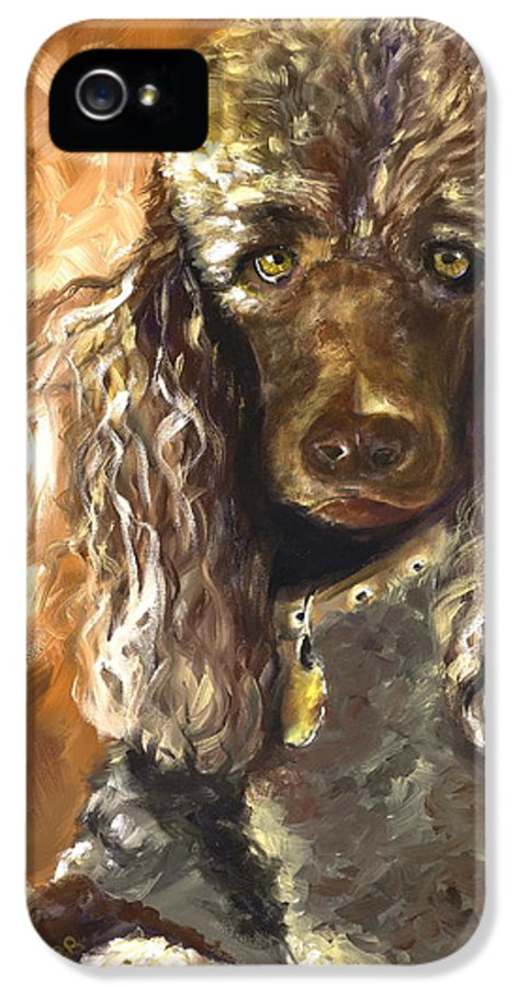 Dogs IPhone 5 Case featuring the painting Chocolate Poodle by Susan A Becker
